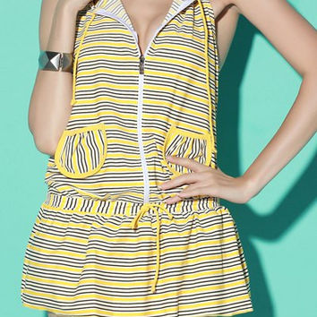 Pocket Designed Hooded Striped Three-Piece Swimsuit