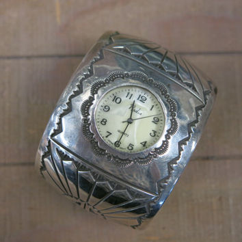 Vintage Antique Country Western Tribal Sterling Silver Nadia Quartz Movement Mother of Pearl Face Wide Cuff Bracelet Wrist Watch