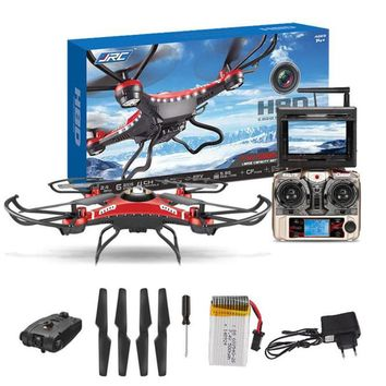 JJRIC 4CH 5.8G FPV RC Quadcopter Drone HD Camera + Monitor+ 4 Battery Mini Drone with camera