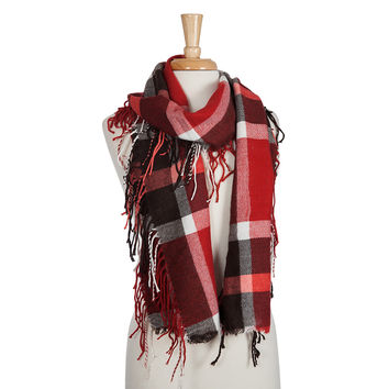 Black, White, and Red Plaid Infinity Scarf with Fringe