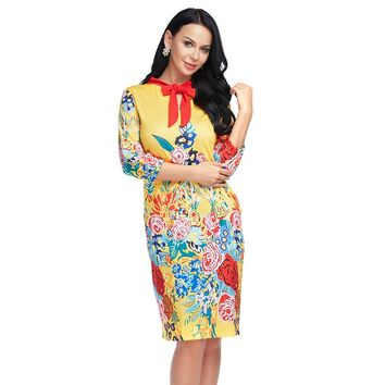 Women Vintage Dress Summer Plus size Floral Print Chinese style Three Quarter Sleeve Midi Dress Ladies Vestidos Lace up XXL