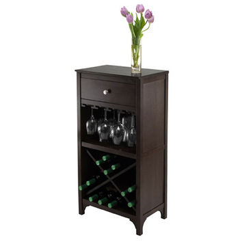 Ancona Modular Wine Cabinet with 1 Drawer, Glass Rack, X Shelf