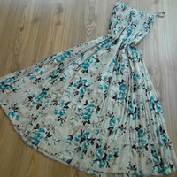 Handmade  - Vintage Roses - Maxi Skirt - Dress........Blue - Beige