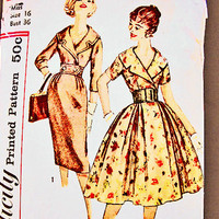 1950s Dress Pattern Misses size 16 Vintage Pattern 50s Womens Full Skirt Rockabilly Dress with Wide Shawl Collar