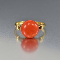 Antique Edwardian 18K Gold Red Coral Solitaire Ring