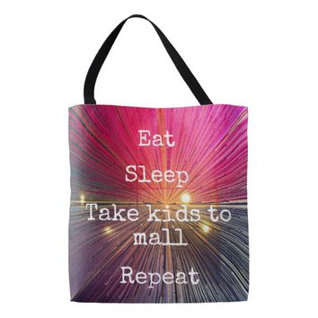 """Eat Sleep Repeat, Mall"" quote pink tote bag"
