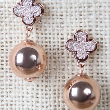 Diamond Etched Clover Drop Sphere Earrings