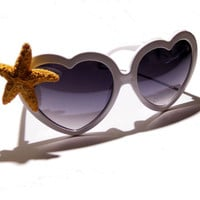 FREE SHIPPING, Heart shaped sunglasses, charm, heart, lolita, starfish, beach, retro, vintage, style, kawaii, sunglasses, glasses, shades