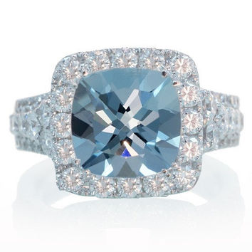 Spectacular Cushion Cut Diamond Halo Engagement Anniversary Wedding Ring