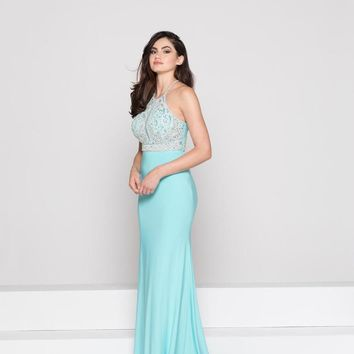 Glow by Colors - G785 Bead Embellished Halter Evening Dress