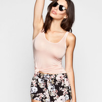 Full Tilt Essential Womens Double Scoop Tank Light Pink  In Sizes