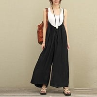 2017 Summer Spring ZANZEA Rompers Womens Jumpsuits Vintage Strap Low Cut Sexy Leisure Loose Solid Overalls Big Large Size 5XL