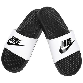 Nike Benassi JDI Men's Slide White/ Black Slipper 343880-100 Free Shipping