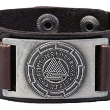 Vintage Nordic Wicca Odins Symbol Metal Connector Cuff Bracelet For Men Women Jewelry
