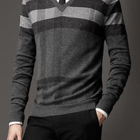 Printed Check Wool Silk Sweater