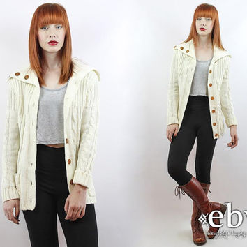 Vintage 70s Cream Knit Cardigan Sweater S M Cream Cardigan Cream Sweater Cable Knit Cardigan Vintage Cardigan Vintage Sweater Vintage Jumper