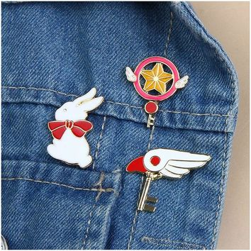 Cartoon Creative Cute Rabbit Wing Star Enamel Pin Metal Brooch Fashion Denim Jackets Collar Pins Button Brooches For Women Girl