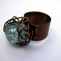 Rustic copper ring with blue quartz stone wire wrapped ring metalwork organic ring adjustable ring.Free shipping