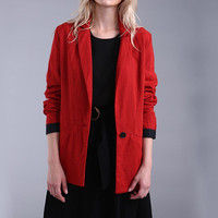 Red Single-Button Knit Blazer with Color Black Details