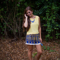Scalloped Trim Top in Yellow