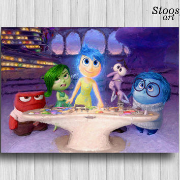 inside out print disney art decor nursery watercolor