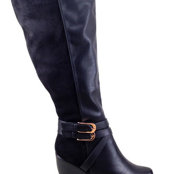 Black Wedge Boot with Suede and Buckle Details