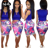 2017 Summer New Women Set MIni Dress Two Piece Outfits Sleeveless 2 Piece Bandage Dress Ankle Length Women Casual bodycon Dress