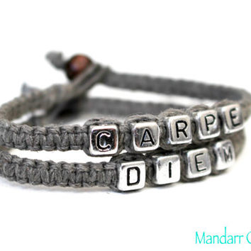 Carpe Diem Seize the Day, Grey Hemp Bracelets, Macrame Jewelry, Gift for Her, Inspirational Quote