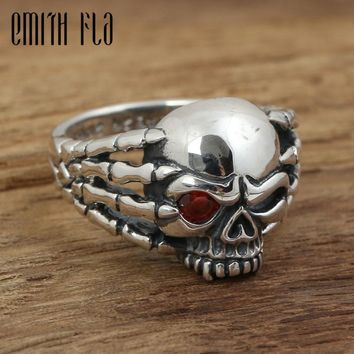 Genuine 100% 925 Sterling Silver Vintage Punk Paw Skull Ring For Men Fashion Unique Personality Skeleton Jewelry