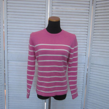 Vintage Hot Pink Cotton Sweater Womens Medium Knit Crewneck Pullover Sweater Pink White Stripes