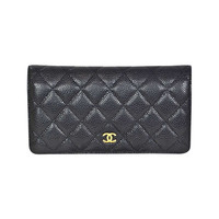 CHANEL 2014 Black Caviar YEN Wallet