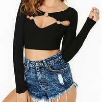 Metal Button Colpus Cutout Long Sleeves Backless Black Crop Tops