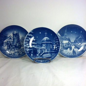 "Vintage Christmas Plates from Germany -   Collectible 8"" Plates - Blue and White Bavarian China - Gift Idea - Christmas Decor"