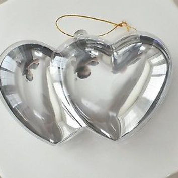 Plastic Silver Chrome Double Heart Container Ornament Favor Fillable