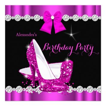 "Pretty Hot Pink High Heels Birthday Party 5.25"" Square Invitation Card"