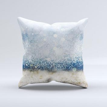 The Unfocused Blue and Gold Sparkles ink-Fuzed Decorative Throw Pillow