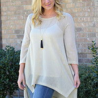 Just Breathe Mesh-Knit Top-Taupe