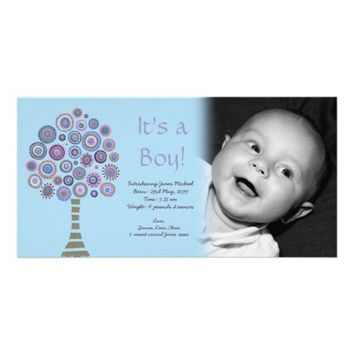 It's a Boy Baby Announcement Blue Tree Photocard Custom Photo Card from Zazzle.com