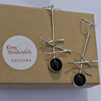Onyx Black abstract earrings. Sterling silver. OOAK. Long earrings.