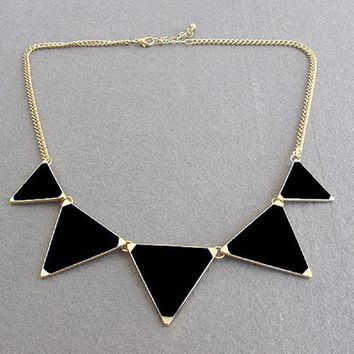 Black Geometrical Triangle Pendant Necklace