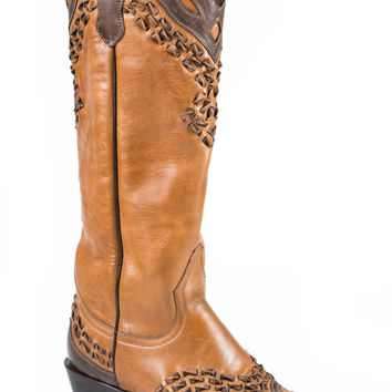 Stetson Ladies Fashion Snip Toe Boots Burnished Tan Vamp And 15 Shaft With Snip Toe Toe