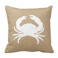 Faux Burlap Nautical Throw Pillow with Crab