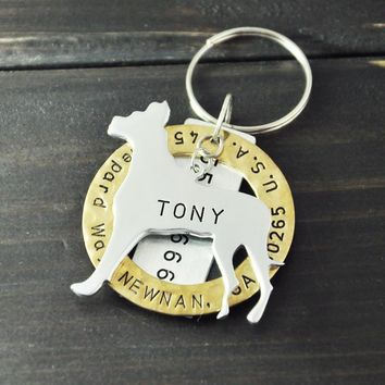 Engraved Great Dane Dog Tag, Personalized Dog Tag, Pet ID Tag, Hand Stamped, Customized Name & Address,  Engraved Dog Jewelry