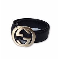 GUCCI BLACK PEBBLED LEATHER BELT, GOLD GG LOGO, 80/32, $450