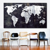 Unique Vintage HD WORLD MAP Canvas Painting Printing Poster Wall Picture No Frame Home decor For Living Room