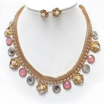 Pearl Center Rose and Multi Disk Dangle Necklace Set