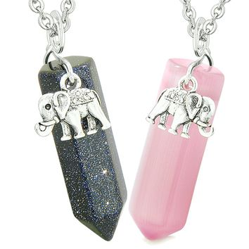 Lucky Elephant Love Couples or Best Friends Crystal Points Goldstone Pink Simulated Cats Eye Necklaces