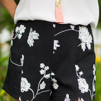 Floral Stitch Shorts, Black