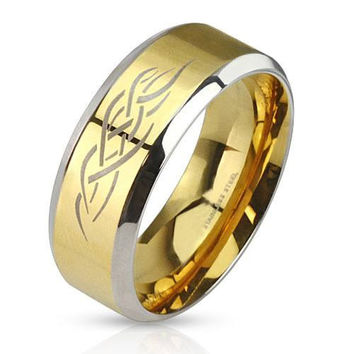 Gold Tribal Shaman - FINAL SALE Brushed gold IP and silver stainless steel men's ring with fire tribal inlay