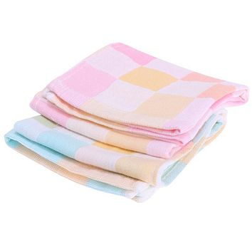 Double Layers Gauze Baby Feeding Bibs Towel Cotton Baby Bibs Infant Plaid Towel For Newborn Bib Scarf Cloth